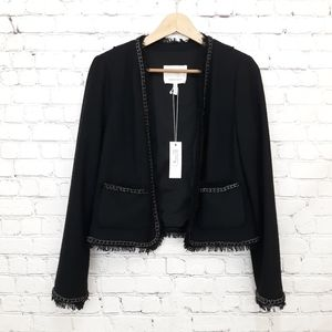 New Rebecca Taylor Boucle Chain Jacket Black 8